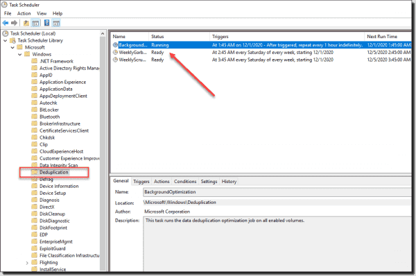 Windows Deduplication Scheduled Tasks in Windows Server 2019