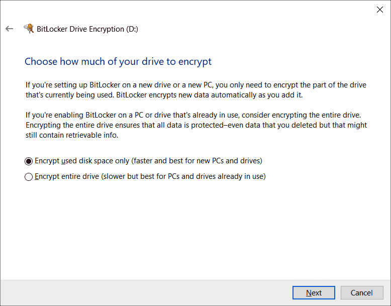 Without group policies applied to configure BitLocker the user decides on the encryption method