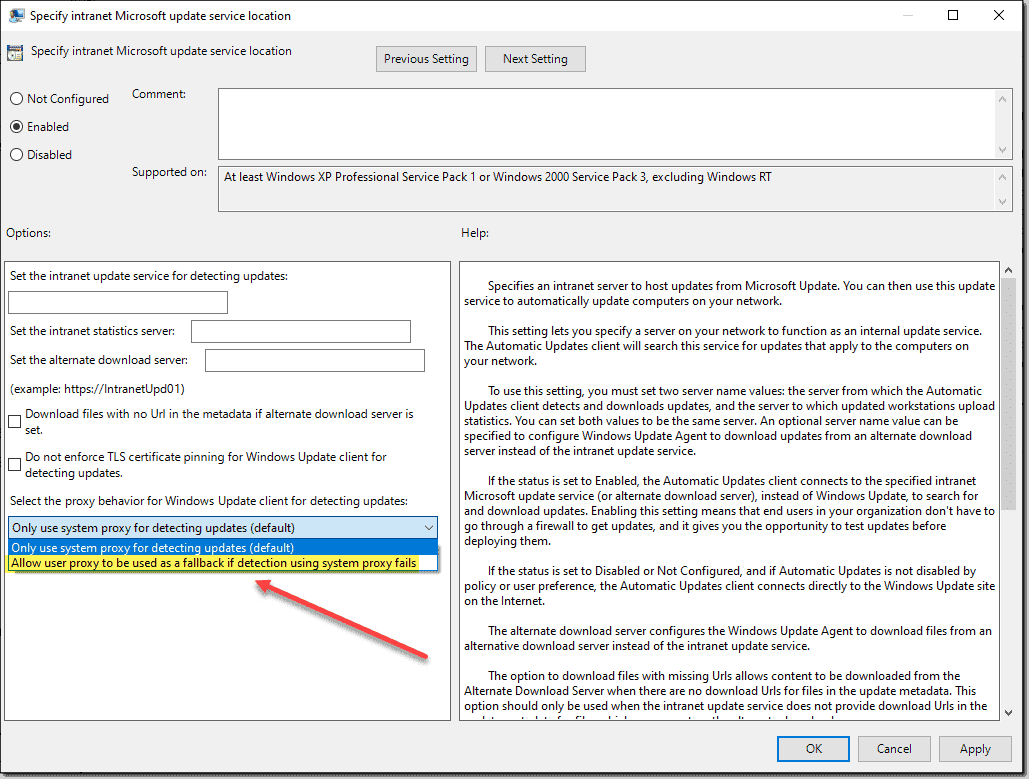 Allow WSUS user proxy failback to be used