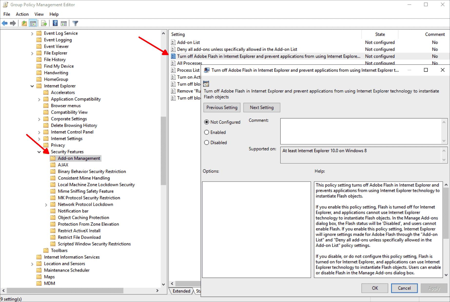 Blocking Adobe Flash in Internet Explorer