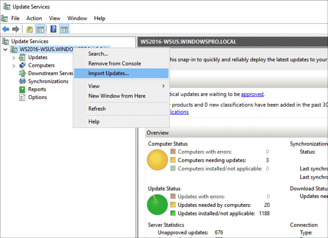 Command for importing updates from the Microsoft Catalog