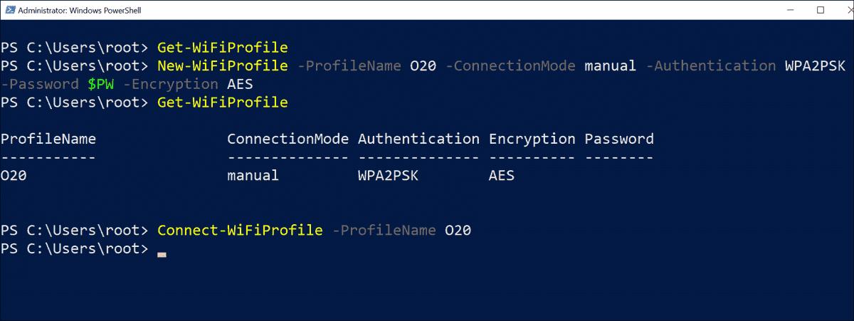 Create a new WiFi profile via PowerShell