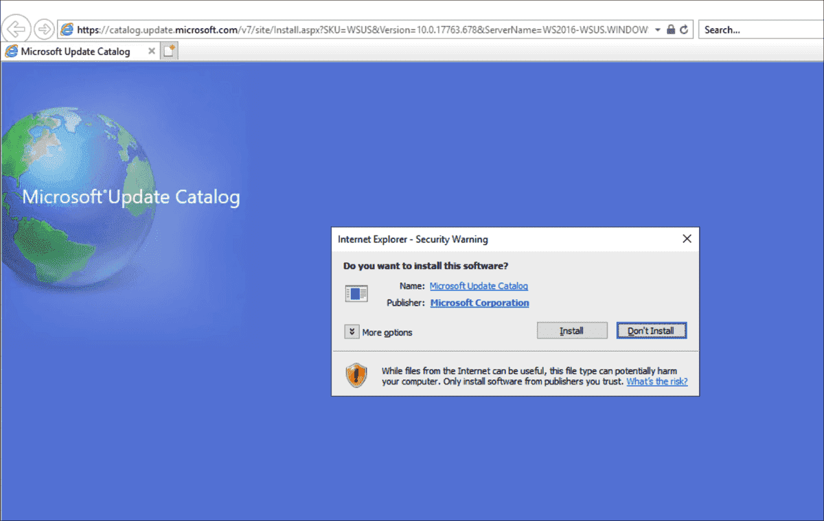 If you start IE with administrative rights you can install ActiveX for the Update Catalog