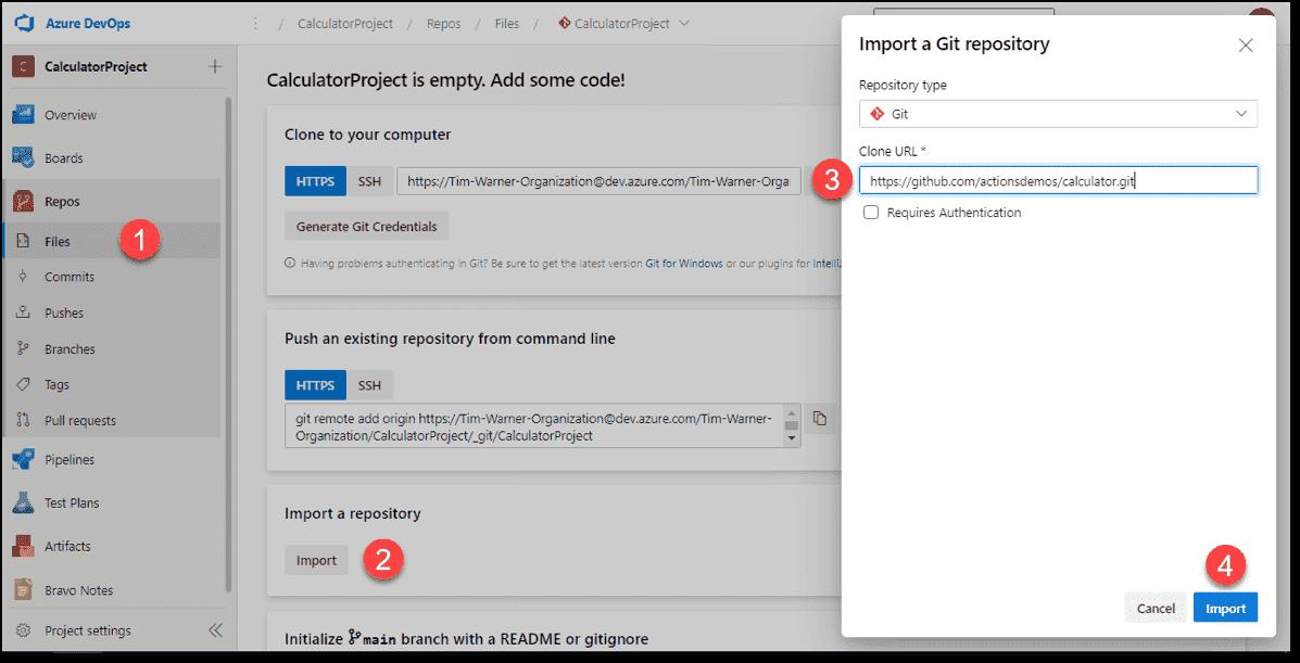 Import a GitHub repo into an Azure Repos