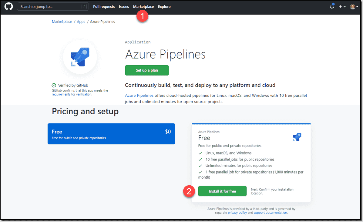 Install the Azure Pipelines tool in GitHub