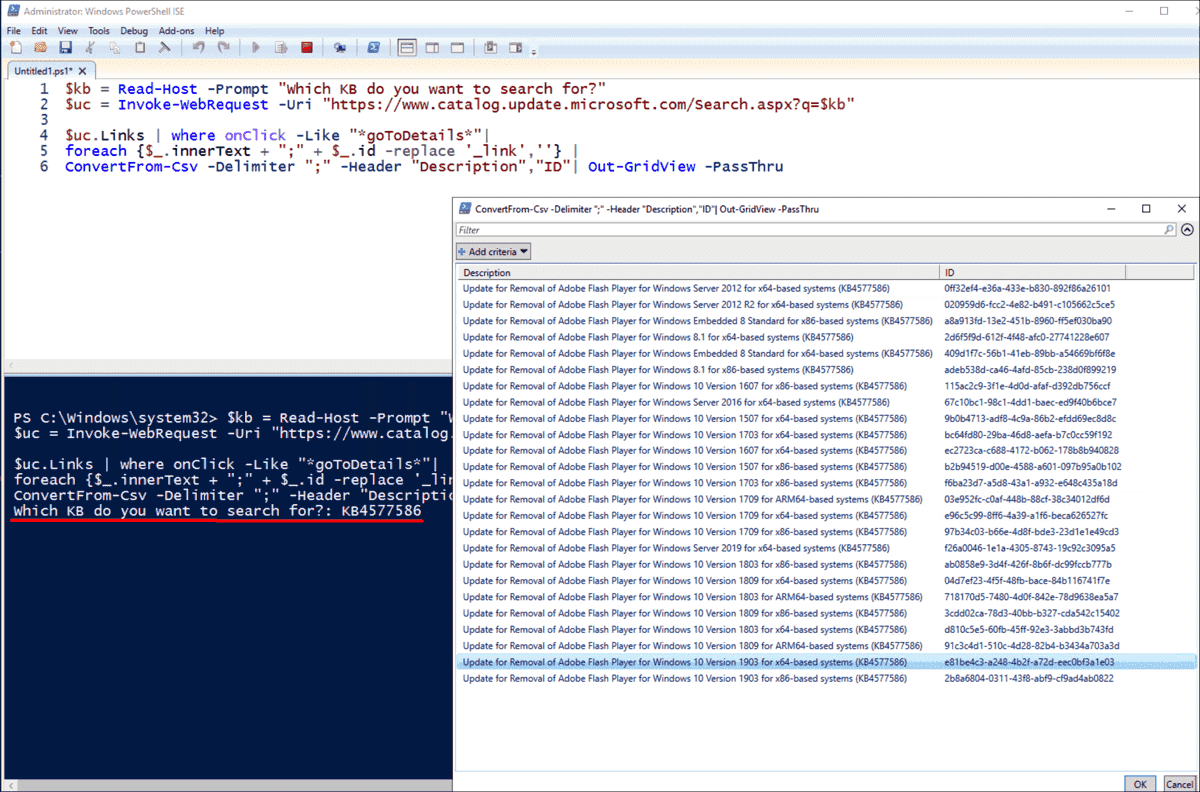 Retrieving IDs of the desired updates from the catalog using PowerShell