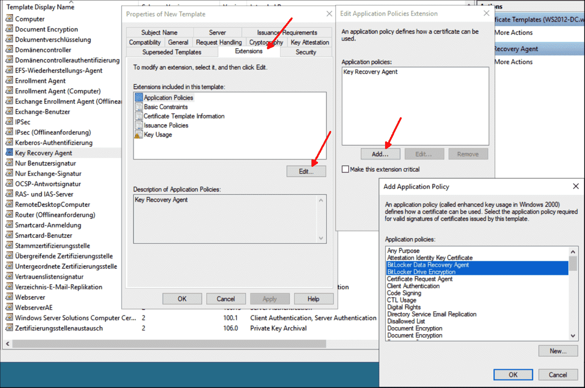 Add application policies to BitLocker