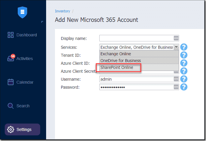 Adding a new Microsoft 365 account in NAKIVO with SharePoint Online services