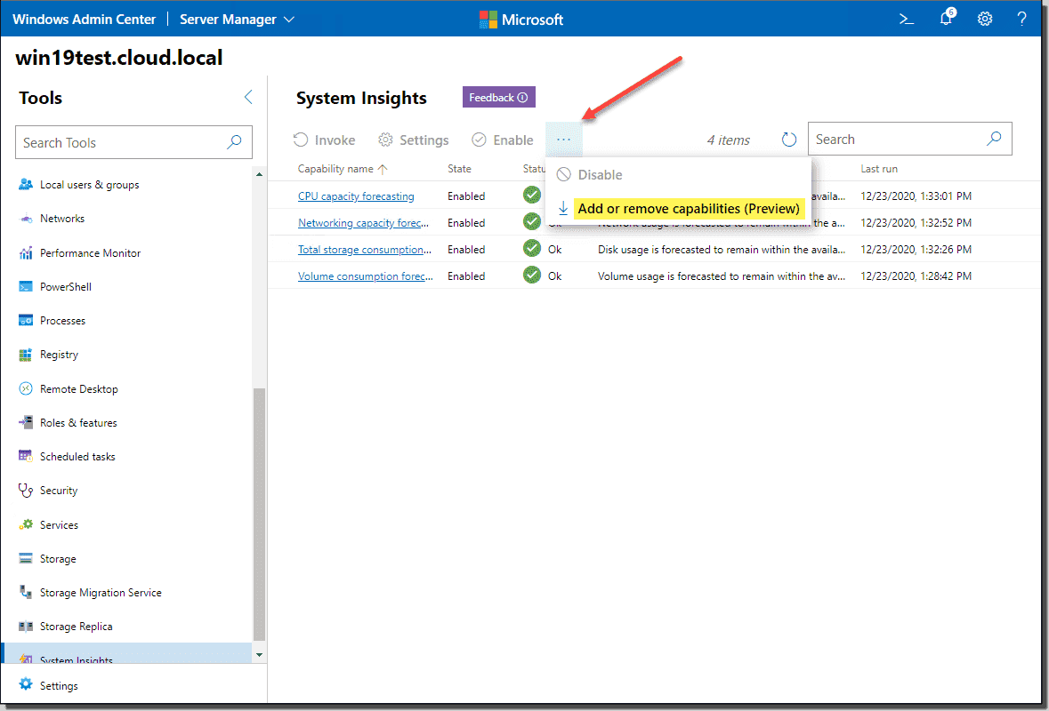 Adding preview capabilities to Windows Admin Center System Insights