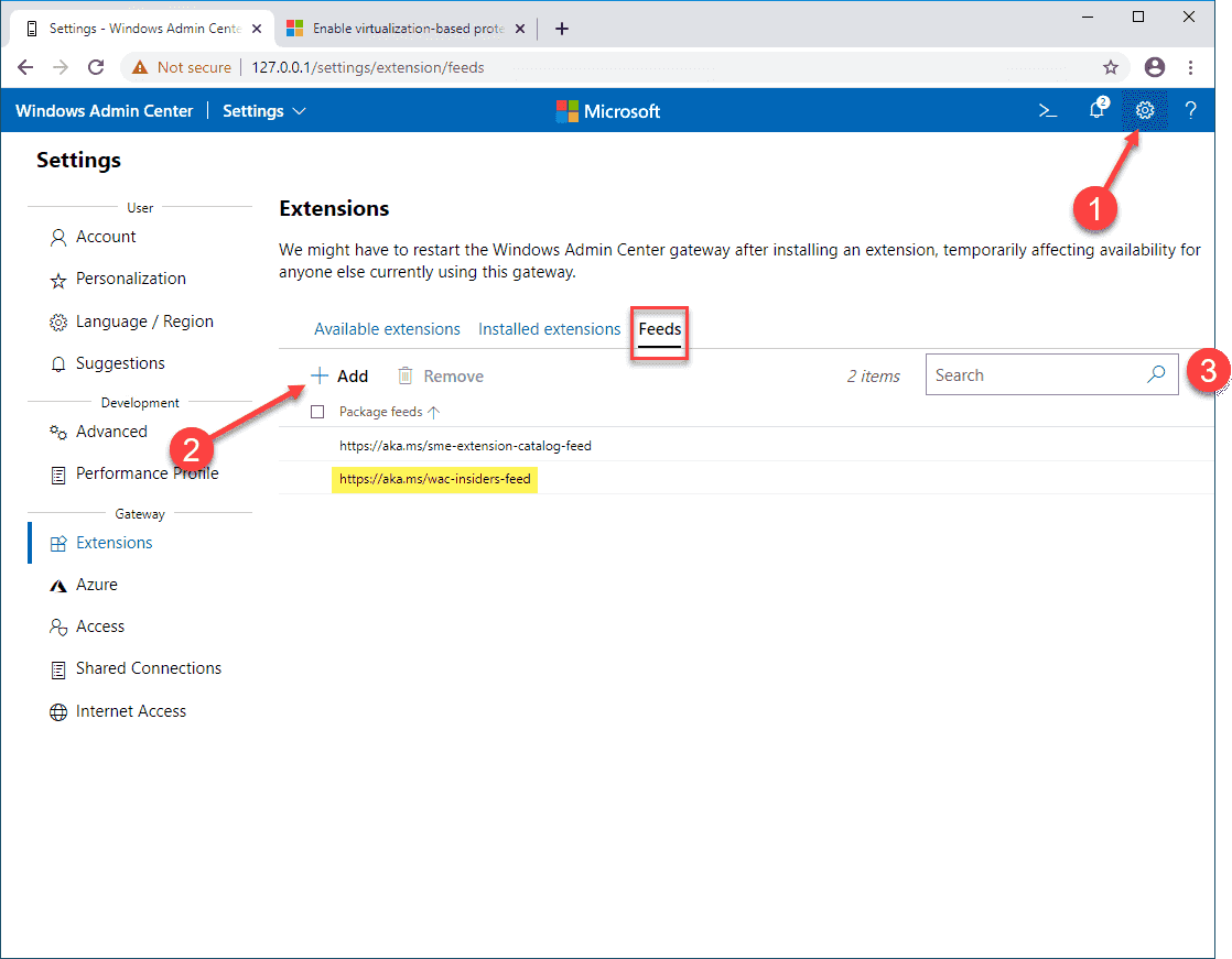 Adding the _Insider Preview_ extensions feed in Windows Admin Center