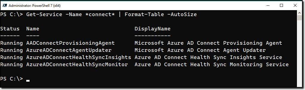 Azure AD Connect services
