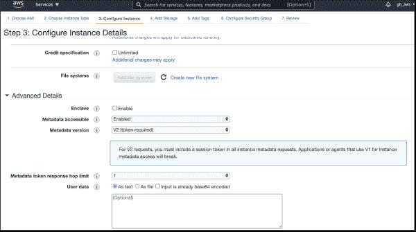 Configure EC2 metadata options