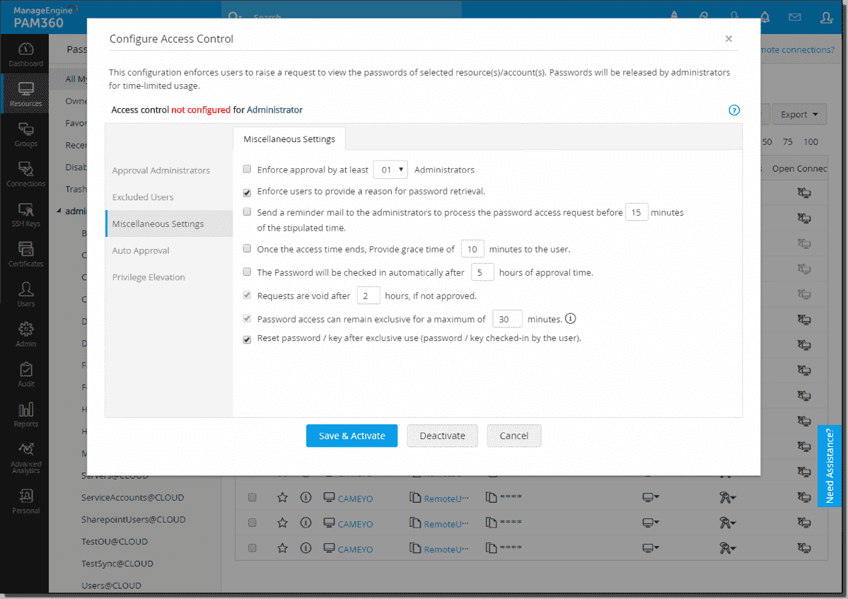 Configure access control workflow in ManageEngine PAM360