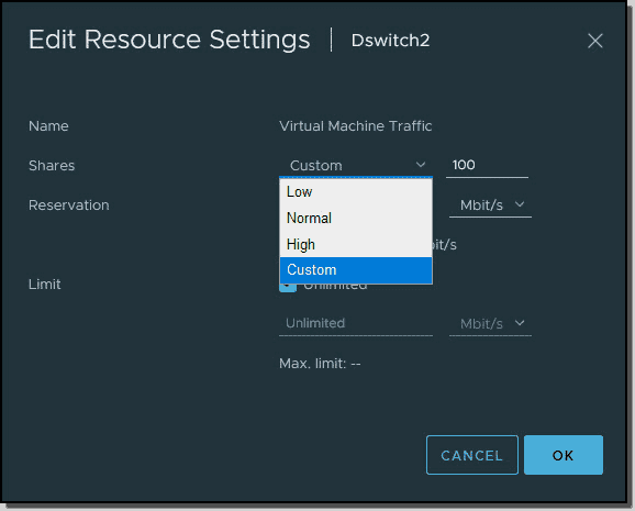Configure shares reservations and limits for different traffic types
