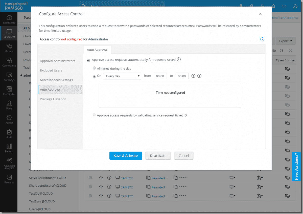 Configuring auto approval for privileged access request