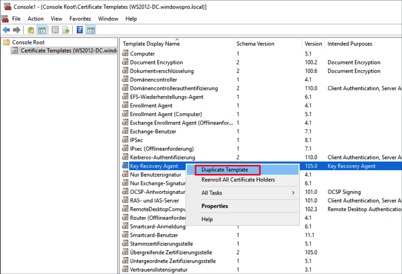 Create a new template based on Key Recovery Agent