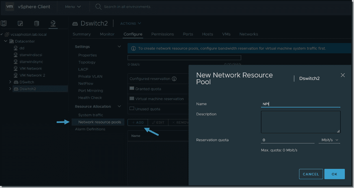 Create new network resource pool in vSphere 7