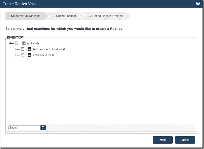 Create replica VMs select virtual machine