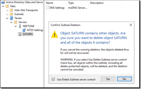 Delete the domain controller
