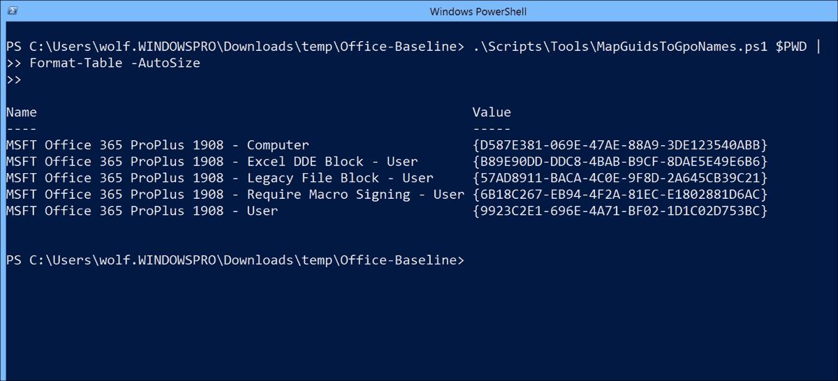 Displaying the names of the baseline GPOs with PowerShell