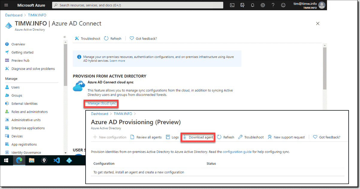 Download the Azure AD Connect cloud provisioning agent
