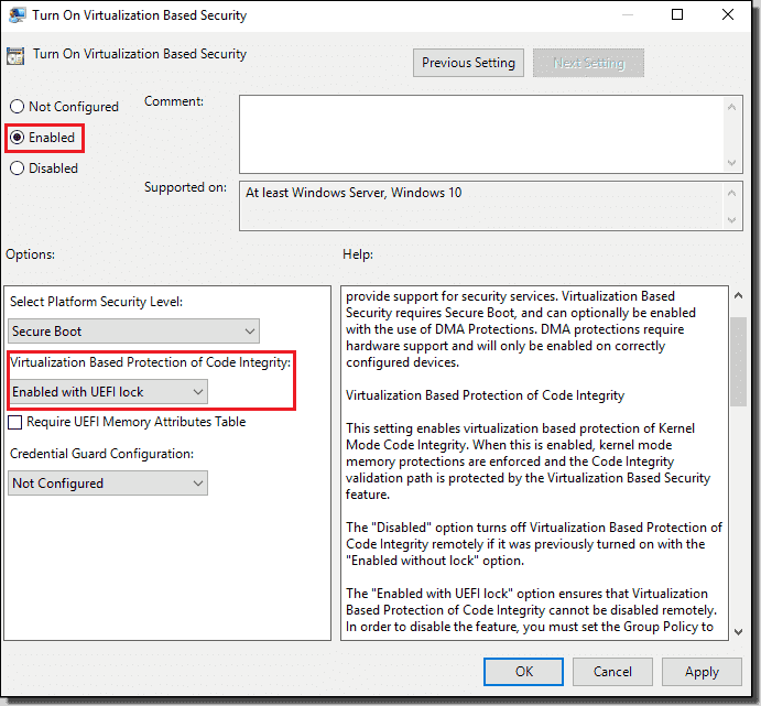 Enable HVCI using Group Policy