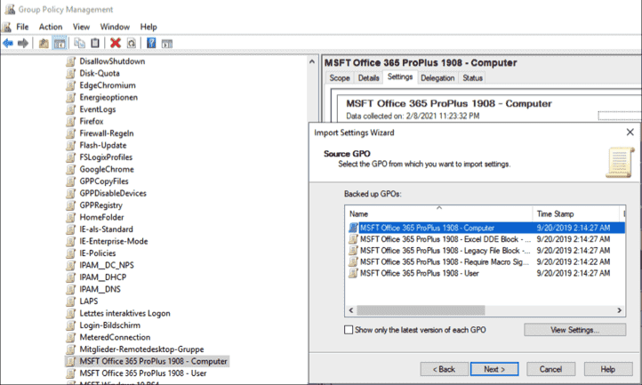 Importing the GPO with settings for computers