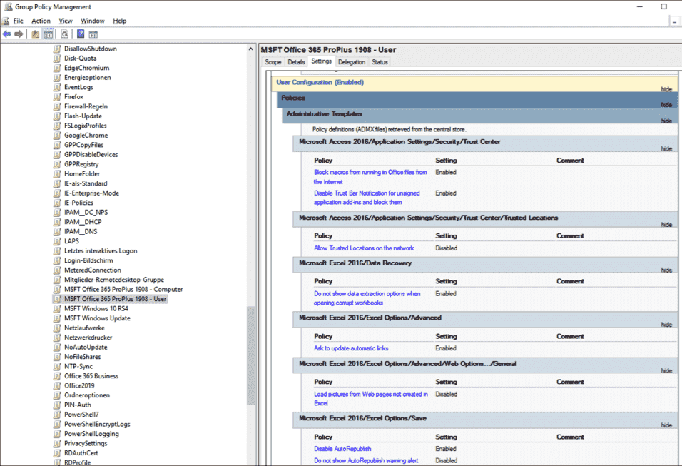 Most settings are configured by the baseline in the Users branch