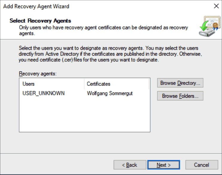 Read the public key from the exported certificate or Active Directory