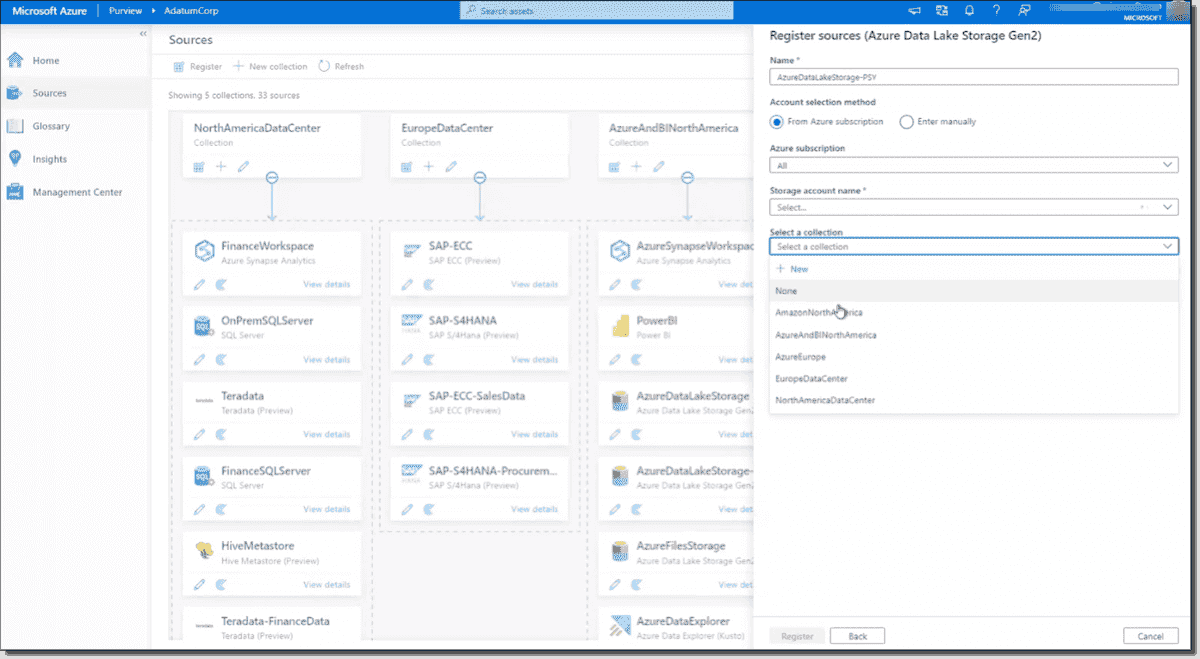 Register a data source in Azure Purview courtesy of Microsoft