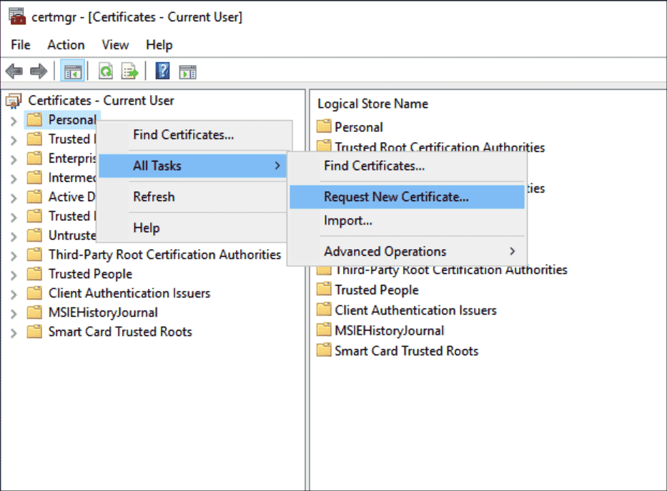 Running the command to request a certificate