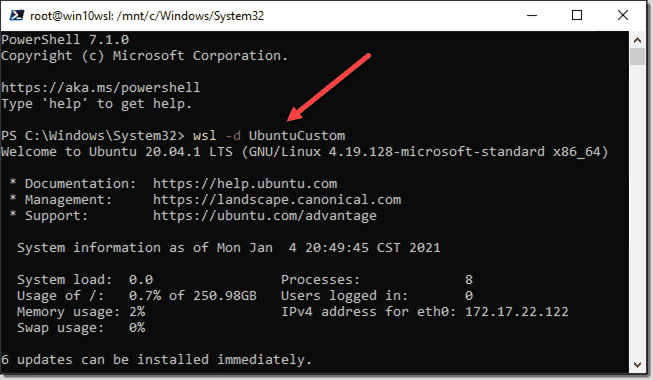 Running the specific WSL Linux distro imported from backup