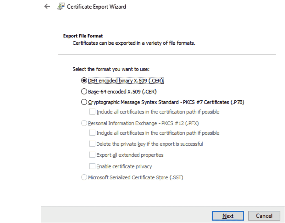 Select the file format for exporting the certificate