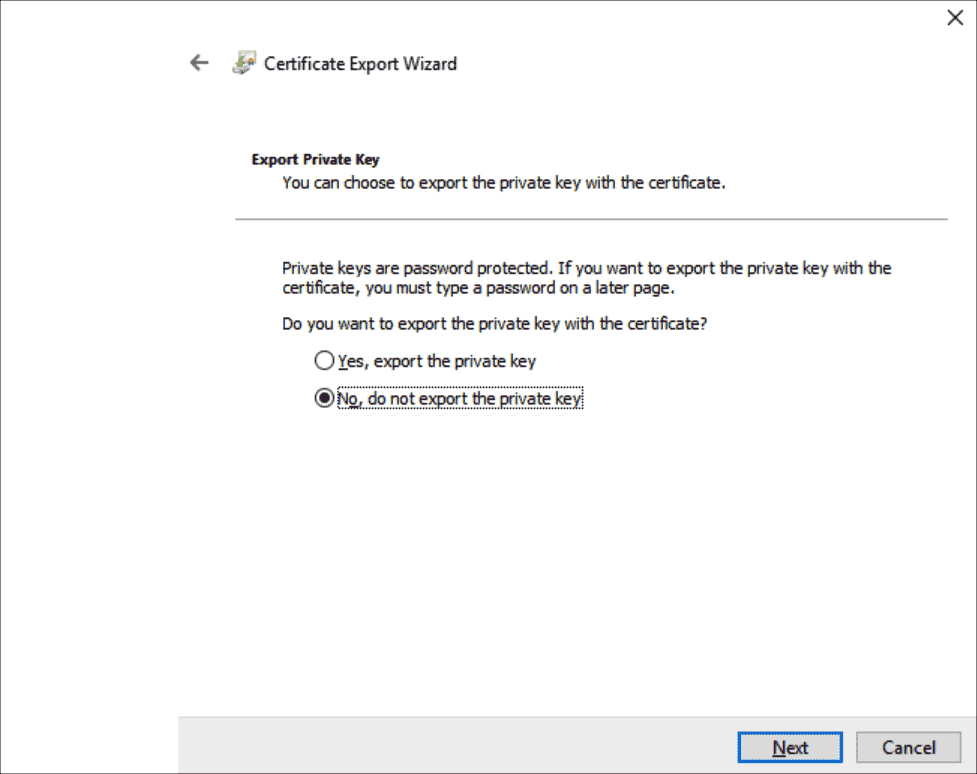 The private key will not be exported