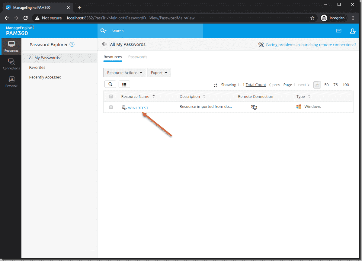User now has access to connect to shared resource