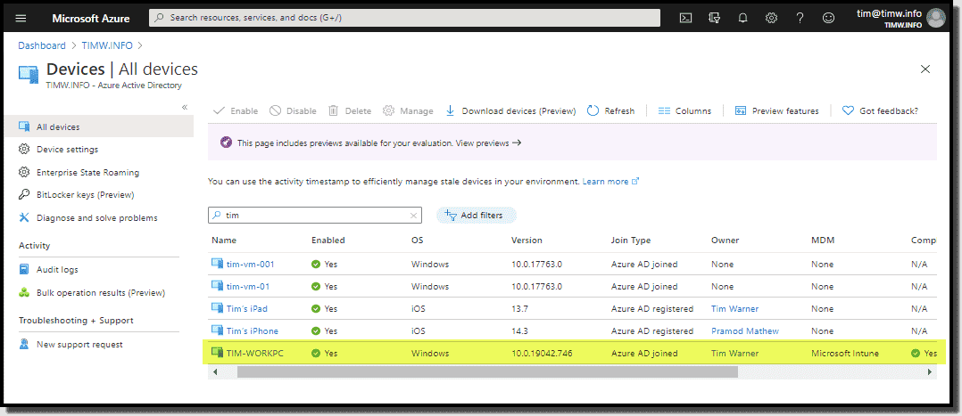 Viewing an Azure AD joined device in the Azure portal
