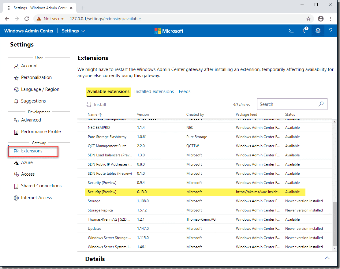 Viewing the available extensions in Windows Admin Center