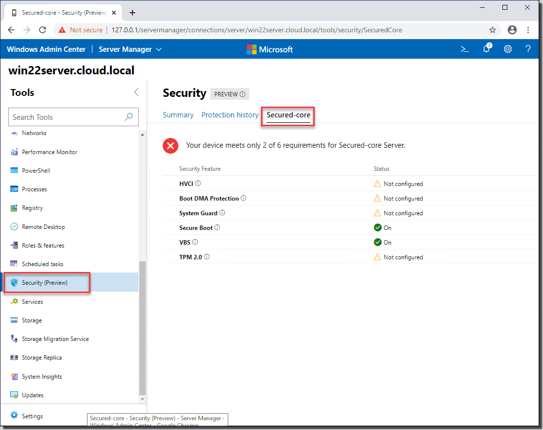 Viewing the new Secured core security feature