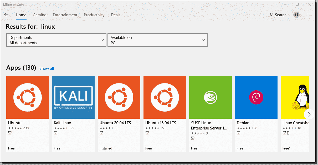 Windows Subsystem for Linux distros available in the Microsoft Store