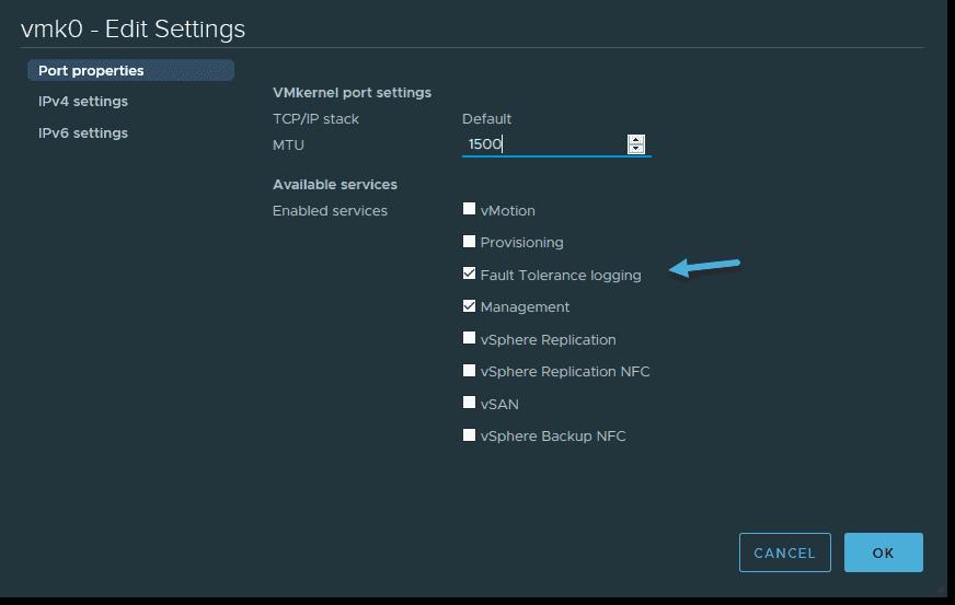 vSphere and FT logging enabled on the VMkernel adapter