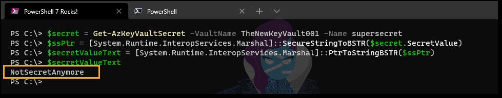 Accessing a Key Vault secret using PowerShell