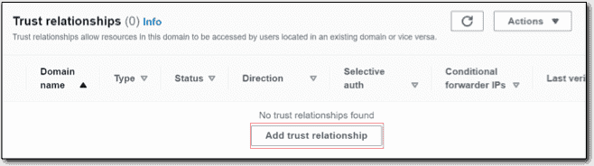 Adding a trust relationship to the AWS Managed AD