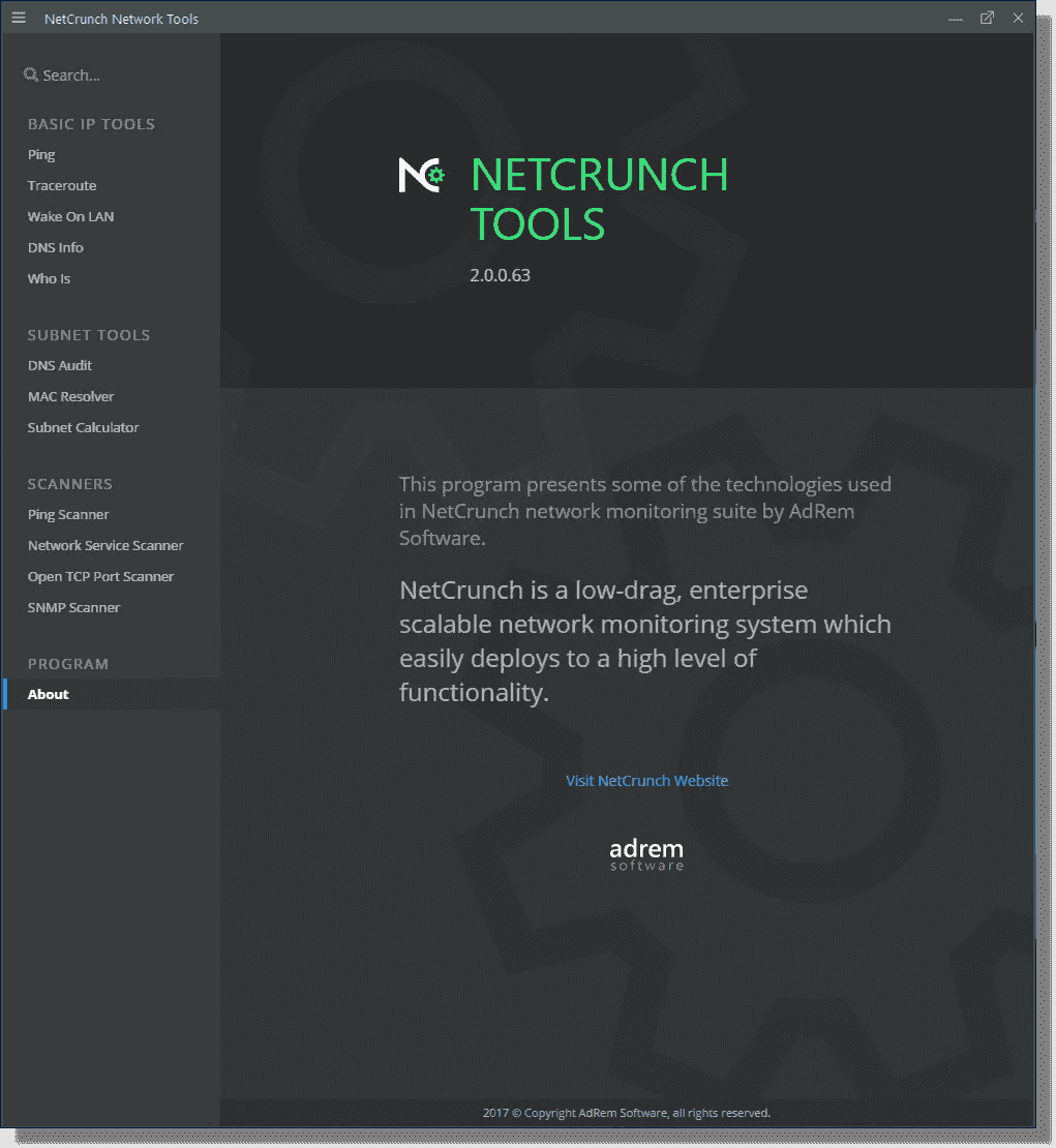 After registering the NetCrunch Network Tools app is displayed