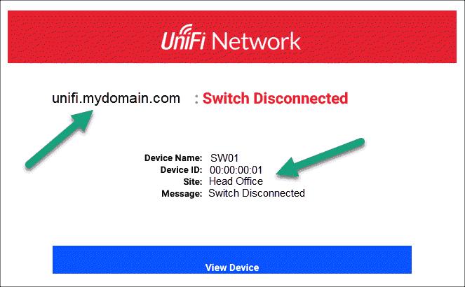 Alert from a Unifi Wireless Controller