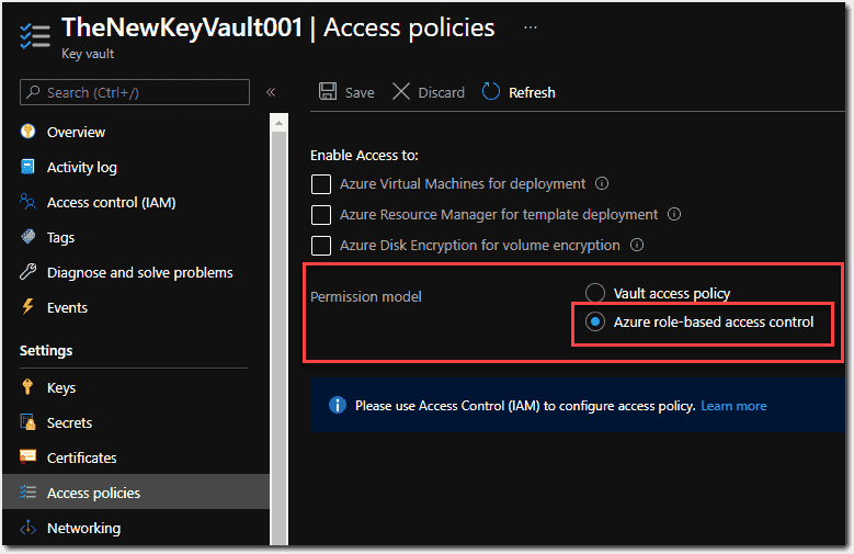 Azure role based access control as the permission model