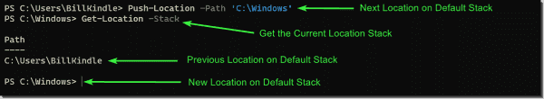 Basic use of Push-Location—Changing file system directory