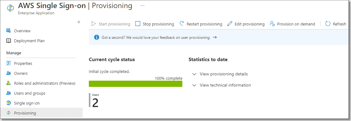 Checking the provisioning cycle status