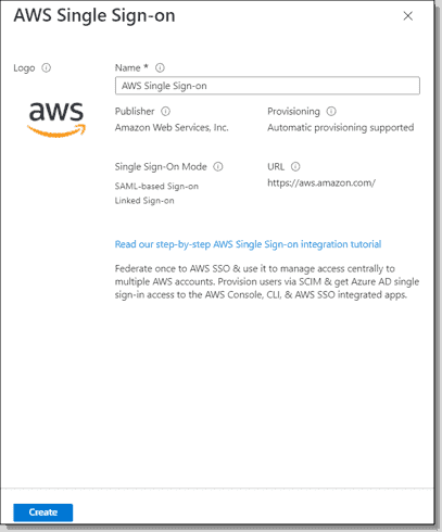 Creating AWS Single Sign on Enterprise Application in Azure AD