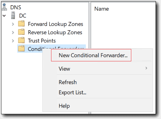 Creating a conditional forwarder