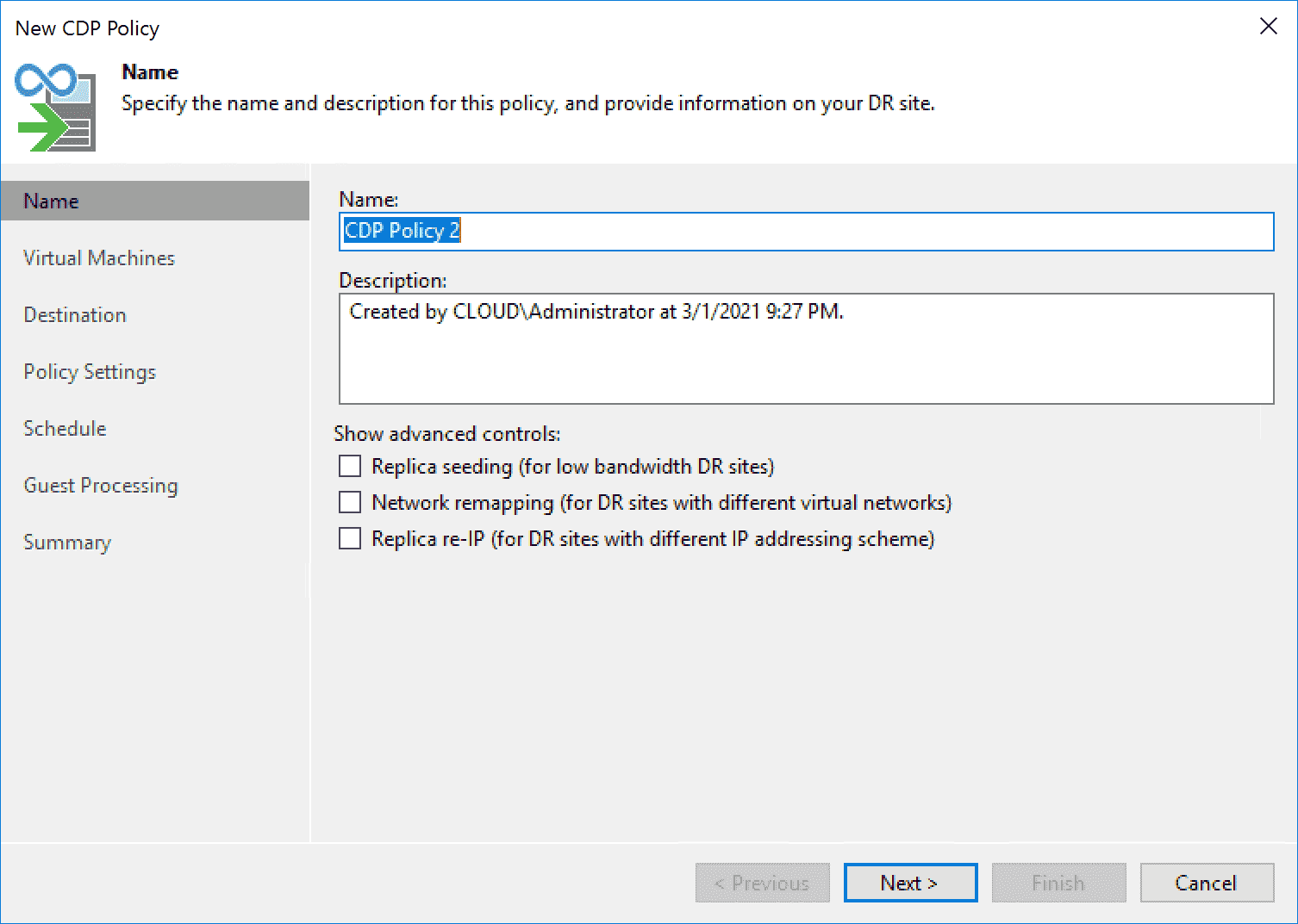 Creating a new Veeam Backup Replication v11 CDP policy for CDP